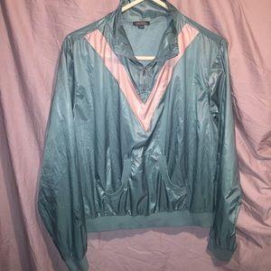Shiny half zip pullover sweatshirt